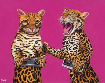 Digital Print from original Artwork 11x14 Ocelots playing with retro vintage video game conttrollers