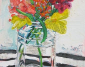 Late March Bouquet original acrylic mixed media still life painting by Polly Jones