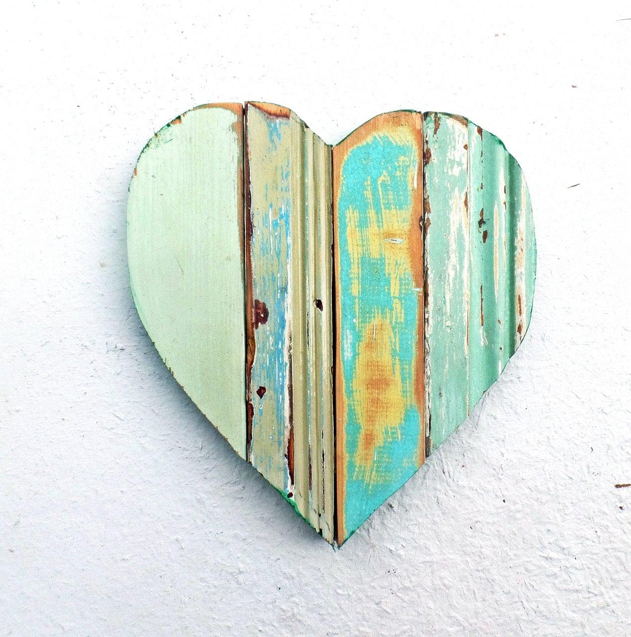Aqua Heart Boho Chic Decor Bohemian Wall Art Wood Wall Art