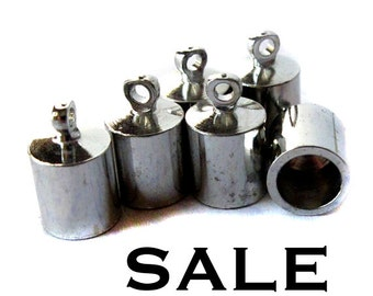 Vintage Rhodium Plated End Caps (10X) (F509) SALE - 25% off
