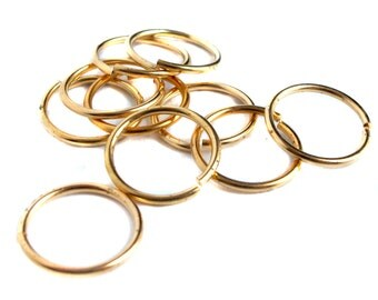 HUGE Vintage Raw Brass Round Jump Rings - 19mm (20X) (F510)