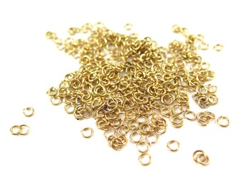 Gold Plated 4mm Round Jump Rings - 12 grams (approximately 300x) (21 gauge) K851-B