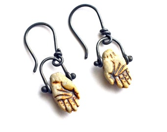 Hand Earrings. Clay Hand Earrings. Rustic Sterling Silver Dangle Earrings. Pinned Bail Earrings. Inspirational Jewelry.