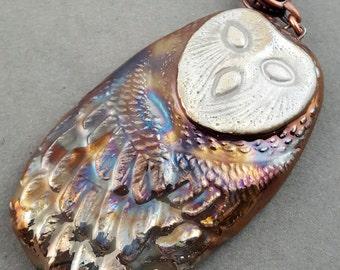 Raku Barn Owl Pendant