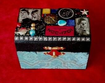 Star Trek mini wooden chest box - Mixed Media Mosaic