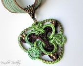 Lace pendant green and brown tatted Celtic knotwork triangle