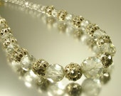 Vintage/ estate Art Deco 1940s glam, cut crystal bead and rhinestone, paste, costume necklace - jewelry / jewellery