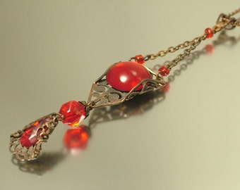 Vintage steampunk created, filigree and foiled ruby red glass pendant & chain - jewelry / jewellery