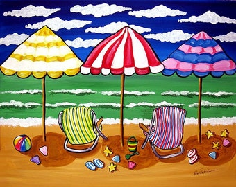 3 Beach Umbrellas Beach Chairs Sailboats Seascape Whimsical Folk Art Original Painting
