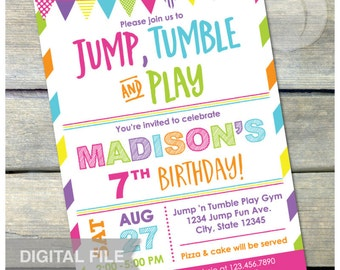 "Gymnastics Birthday Invitation Jump Tumble Play Girls Pink Party - DIGITAL Printable Invite - 5"" x 7"""