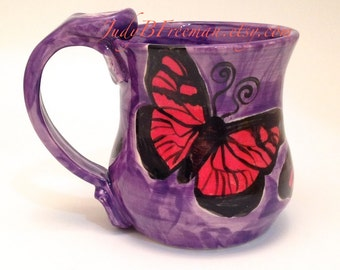 Handmade Stoneware Ceramic Mug Red Butterflies on Amethyst Wheel Thrown 12 Ounces Made to Order Kitchen Coffee Cup MG0046