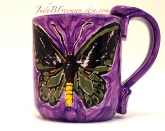 Butterfly Ceramic Mug Cairns Birdwing on Purple 12 Ounces Made to Order MG0034