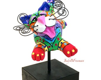 Cat Sculpture with Stand Polymer Clay Flying Painted Rainbow Whimsical CTP0002