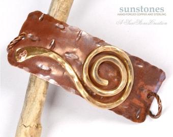 Hand Forged Mixed Metal Bracelet Focal Component,  Bracelet Link, DIY Jewelry Making JC448