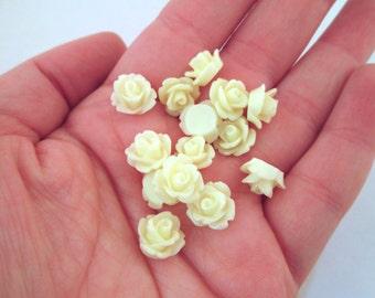 12 10mm Buttermilk Rose Cabochons, buttermilk yellow