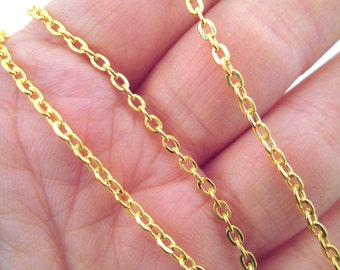 Round Cross Chain, Gold Plated, Pick your amount (style GCR3)