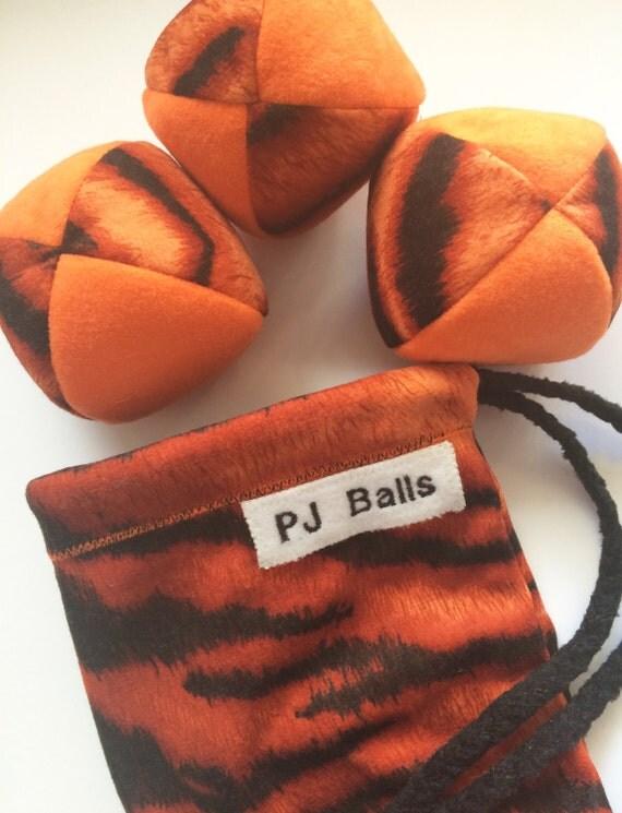 120g - 3 Juggling Balls With Bag - Orange and Tiger Print - Soft Suedecloth