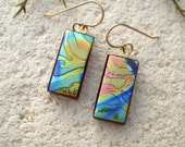 Petite  Stripe Earrings, Dichroic Jewelry,  Gold Filled  Earrings, Satin Earrings,  Fused Glass Jewelry,  Gold Blue Earrings,  050516e103