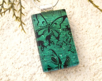 Dichroic Pendant, Green Butterfly Necklace, Dichroic Glass Necklace, Fused Glass Jewelry, Necklace Included, Dichroic Jewelry, 103016p110