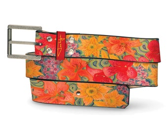 Water Lily Leather Belt, Floral Belt, Leather Belt Flower, Water