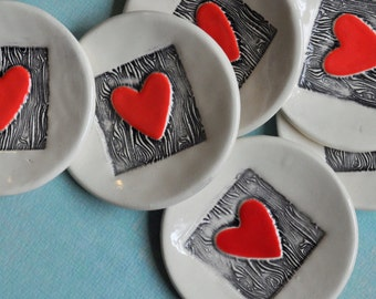 Have a Heart - Small  Trinket Dish/ Ring Dish with Red Heart and Faux Bois Pattern- Ready to Ship