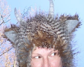 Monster Horn Hat Feather Striped Brown Black Gray Lush Faux Furry Burning Imp Satyr Adult Costume Playa Geek Fetish Hat Birthday Fur Hat