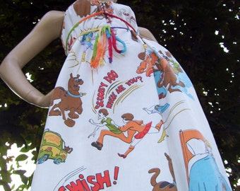 Scooby Doo Dress OOAK Upcycled Sundress Geek Summer Vintage 1977 Fabric Maternity Cruise Universal Resort Dress Adult M to XL Last One