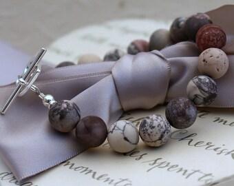 Terra Rosa Jasper Bracelet - matte precious stones