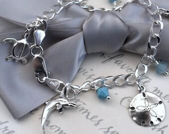 Beach Charm Bracelet - Sterling silver with Swarovski crystal accents