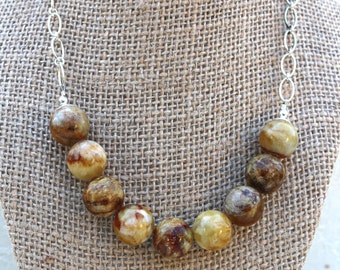 Soocho Jade necklace with Sterling chain, Gold Caramel Brown toned beads
