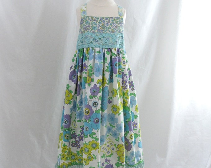 Girls' Floral Sundress, Turquoise, Yellow & Purple Summer Sundress made from Vintage Fabric, Girls' Dress, Eclectic Dress, Girls' Size 6