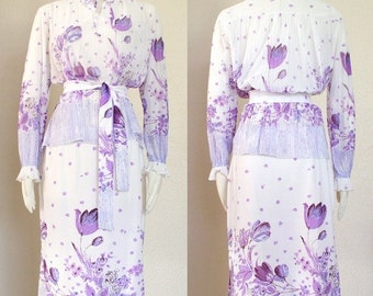 SALE Vintage 70s Purple and White Floral Blouse and Skirt Set - Spring Flower Print Semi Sheer Women's Top and Below the Knee Skirt - Size S