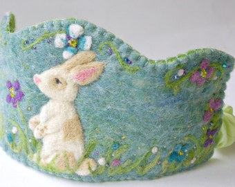 Bunny Birthday Crown: Custom Made Waldorf Style Wool Crown (You Choose Colours)