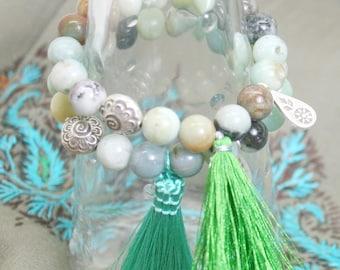 Tassel  bracelet with silver charm