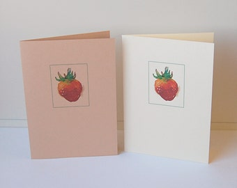 Strawberry Cards, Blank Note Cards Set, Watercolor Cards, Greeting Cards, Thank You Cards, All Occasion Cards, Note Cards