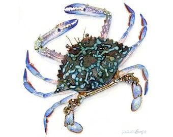 Blue Crab Watercolor Print - Wall Art - Beach Decor- Crab Art - Various Sizes