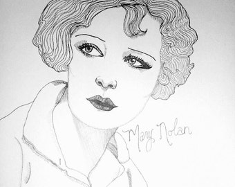 RESERVED ROSEMARY Mary Nolan 9x12 original ink line drawing