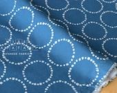 Japanese Fabric dotty circles interlock knit - blue - 50cm