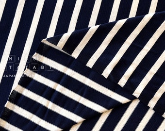 Japanese Fabric Jersey Knit Stripes - navy blue - 50cm