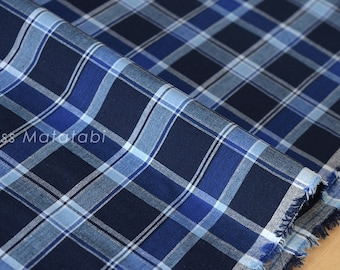 Japanese Fabric - yarn dyed plaid - navy, blue - 50cm