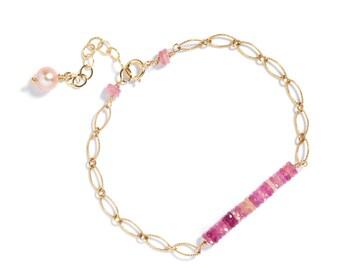 Pink Sapphire Gemstone Bar Bracelet in 14k GF, September Birthstone, Gifts for Her, Bridal Gifts