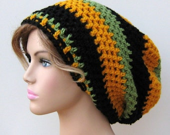 Handmade slouchy beanie, Jamaica Flag Inspired Slouchy Beanie Dread Tam Hippie Boho Hat, woman man slouch beanie hat, black gold green hat