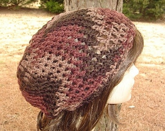 Brownberry smaller dread Tam, Slouchy Beanie, Hippie Bohemian hat, brown crochet slouch hat, baggy beanie, beanie hat, woman beanie, man hat