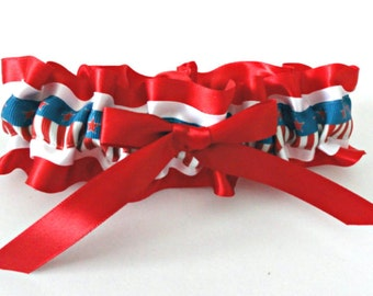 True Colors 4th-Americana Garter-Patriotic Garter 4th of July Wedding-Military-Veterans-USA Garter-Red/White & Blue Garter-Prom Garter-1