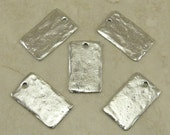 Rectangle Blank Stampable Charm Tag > DIY Personalize Stamp Altered - American Made Lead Free Pewter Silver - I ship Internationally