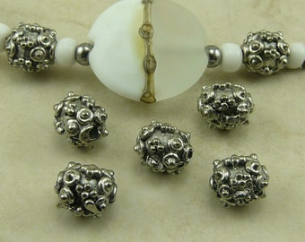 5 Bumpy Textured Bali Style Beads - Ornate Oval - Raw American Made Lead Free Pewter Silver - I ship internationally