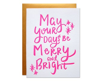 Merry and Bright Letterpress Card