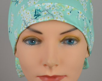 Surgical Scrub Hat or Chemo Cap- The Mini with Fabric Ties- Cotton Blossom