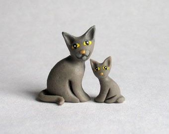Miniature  Seated Gray Cat with Kitten OOAK by C. Rohal