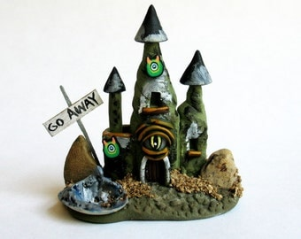 Miniature  Spooky Halloween Witch Evil Eye  House  OOAK by C. Rohal